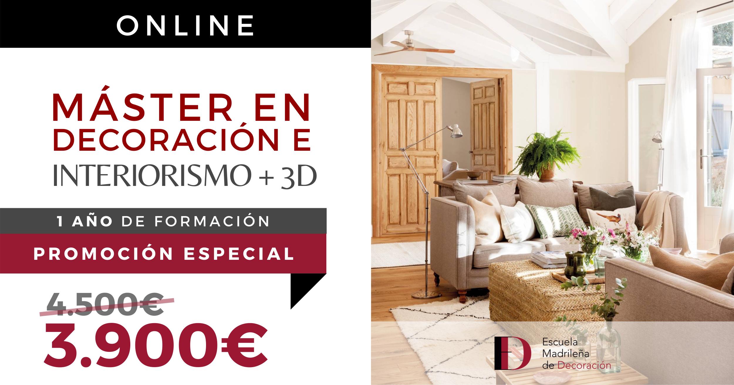 Máster online en Decoración e Interiorismo + 3D en Escuela Madrileña de Decoración