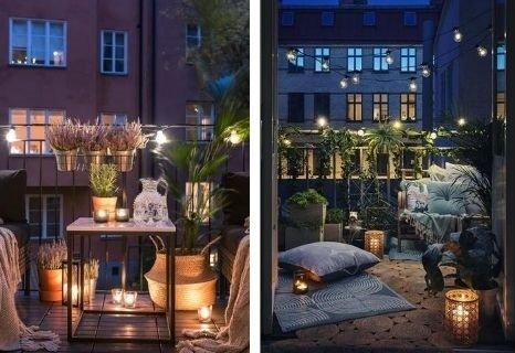 iluminación para decorar tu mini balcón
